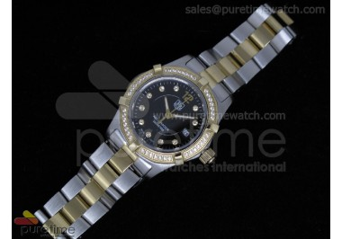 Aquaracer Ladies SS/YG Black Dial Diamond Bezel on SS/YG Bracelet Swiss Quartz