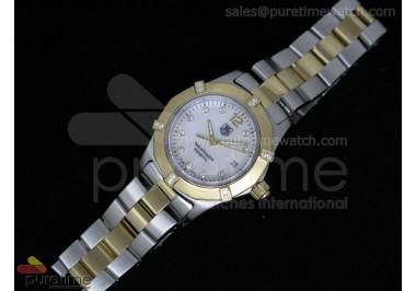 Aquaracer Ladies SS/YG White MOP Dial YG Bezel on SS/YG Bracelet Swiss Quartz