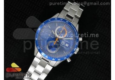 Carrera Calibre 16 SS Chrono Blue Dial Blue Bezel on SS Bracelet ETA7750