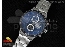 Carrera Calibre 16 SS Chrono Black Dial Black Bezel on SS Bracelet ETA7750