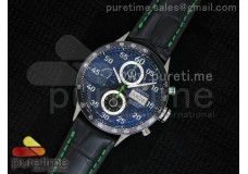 Carrera Calibre 16 SS Chrono Singapore Limited Edition Green Black Dial on Black Leather Strap ETA7750