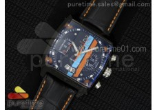 Monaco Twenty-Four Gulf PVD Black Dial on Black Leather Strap Jap Quartz