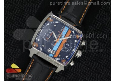 Monaco Twenty-Four Gulf SS Black Dial on Black Leather Strap Jap Quartz