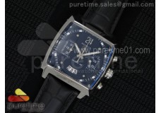 Monaco Concept Chrono SS Black Dial on Black Leather Strap Jap Quartz