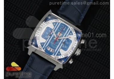 Monaco Concept Chrono SS Blue/White Dial on Blue Leather Strap Jap Quartz