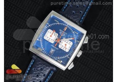 Monaco Concept Chrono SS Blue Dial on Blue Leather Strap Jap Quartz