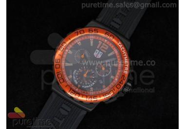 Formula 1 PVD Orange Black Dial on Black Rubber Strap Ronda Quartz