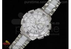 Formula 1 Lady Chrono SS/White Ceramic White Dial Stick Markers Diamond Bezel on Bracelet Swiss Ronda Quartz