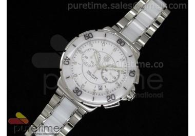 Formula 1 Lady Chrono SS/White Ceramic White Dial Diamond Markers on Bracelet Swiss Ronda Quartz